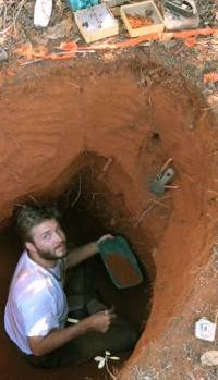 photo of christian rabeling excavating ants in Brazil