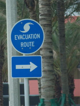 photo of hurricane evacuation sign