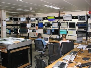 photo of computer monitors onboard ship