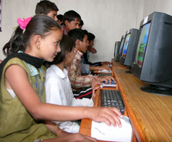photo of students using computers in Nepal