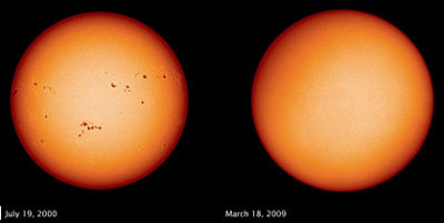 image of sun with sun spots and without