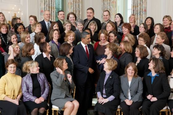 photo of President Obama with science teachers at the White House