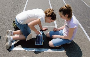 Students work on solar car
