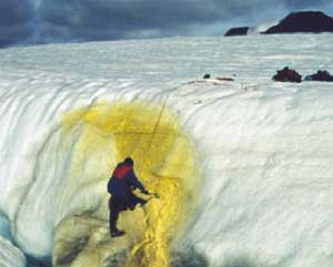 photo of sulfur stained snow in the Artic