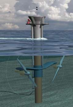 Artist's impression of MCT Seagen pile-mounted twin rotor tidal turbine