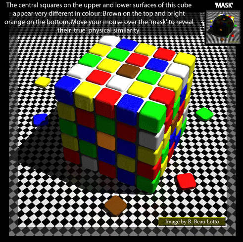 illusion with color tiles on a cube