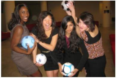 photo of sOccket creators: Jessica Matthews, Jessica Lin, Hemali Thakkara and Julia Silverman