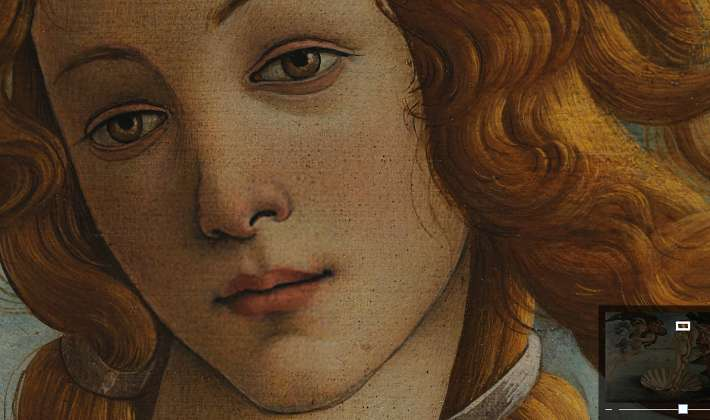 close up of the Face of Venus, Birth of Venus by Botticelli