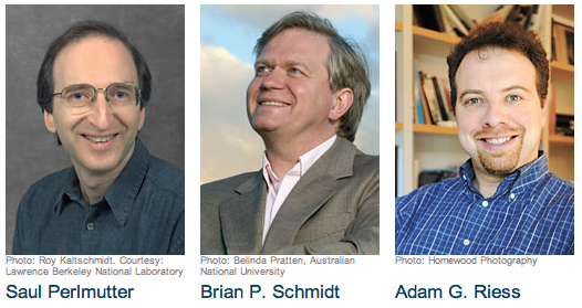 Photos of the 2011 Physics Nobel Prize Winners: Saul Perlmutter, Brian Schmidt and Adam Riess.