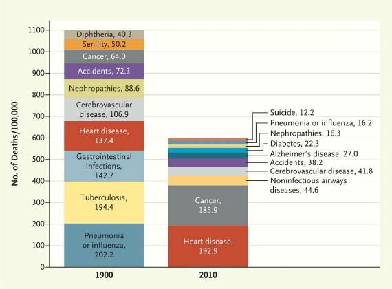 Chart of the Leading Causes of Death in 1900 and 2010