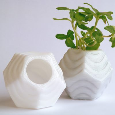 small 3d printed planters, 1 with a plant growing in it