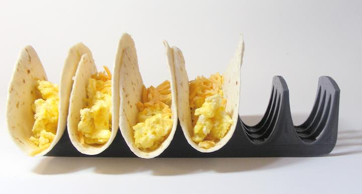 3d printed taco holder with tacos